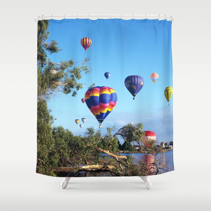 Hot Air Balloon Scene Shower Curtain By