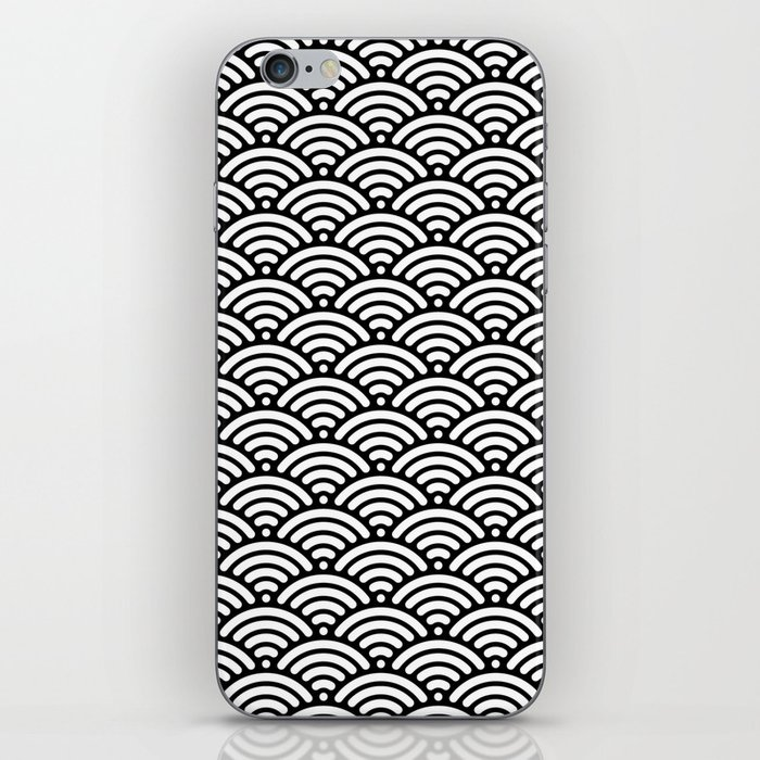 Black White Mermaid Scales Minimalist iPhone Skin