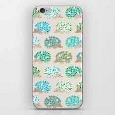 Hedgehog polkadot in green and blue iPhone & iPod Skin