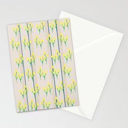 Yellow bursts on stripes Stationery Cards