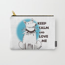 cartoon style dog keep calm and love me Carry-All Pouch
