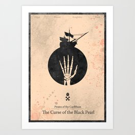 Pirates of the Caribbean 1 - Curse of the Black Pearl - minimal poster Art Print
