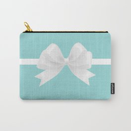 Turquoise & White Bow Carry-All Pouch