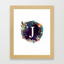 Personalized Monogram Initial Letter J Floral Wreath Artwork Framed Art Print