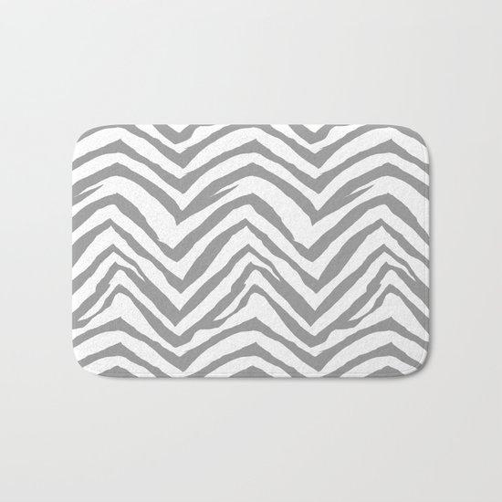 Chevron stripes zebra pattern minimal grey and white basic pattern nursery home decor Bath Mat