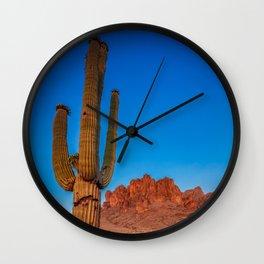 Superstition Sunset Arizona Mountains & Cactus Phoenix Desert Landscape Wall Clock