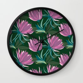 Dark and Moody Purple and Green Floral Wall Clock