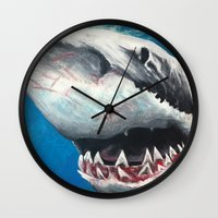 shark Wall Clocks featuring Shark by Kristin Frenzel