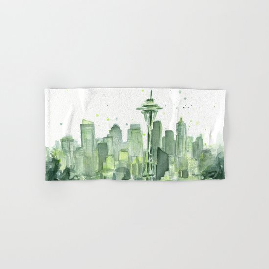 Seattle Watercolor Painting Hand & Bath Towel