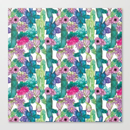 Cactus and succulents pattern Canvas Print