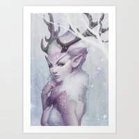 artgerm Art Prints featuring Reindeer Princess by Artgerm™