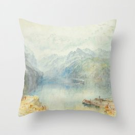 """J.M.W. Turner """"The Lake of Lucerne from Brunnen, with a Steamer"""" Throw Pillow"""