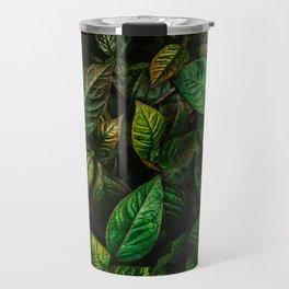 Golden Green Leaves Travel Mug