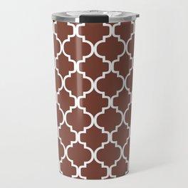 Moroccan Trellis (White & Brown Pattern) Travel Mug