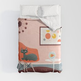 Midcentury Coral Decor With Black Cat And Gold Fish Comforters