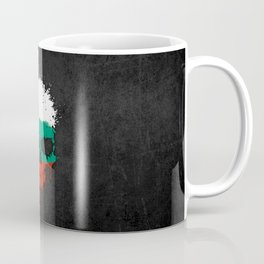 Flag of Bulgaria on a Chaotic Splatter Skull Coffee Mug