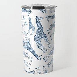 Navy Blue Giraffes on White Travel Mug