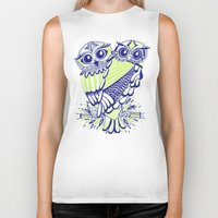 lime Biker Tanks featuring Owls – Navy & Lime by Cat Coquillette