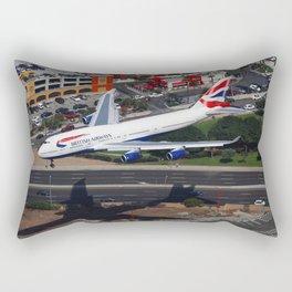 British Airways Boeing 747 arriving in Los Angeles. Rectangular Pillow