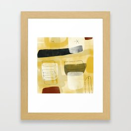 Yellow and Cream Pattern Arrangement with Hollow Forms Framed Art Print