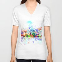 new york skyline V-neck T-shirts featuring New York skyline by Bekim ART
