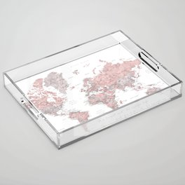 We travel not to escape life, dusty pink and grey watercolor world map Acrylic Tray