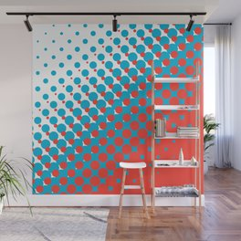 Blue and red halftone pattern Wall Mural