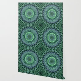 Detailed mandala in green tones Wallpaper