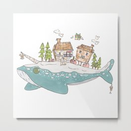 Winter Whale Metal Print