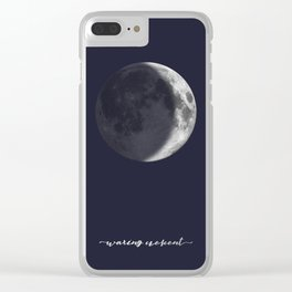 Waxing Crescent Moon on Navy - English Clear iPhone Case