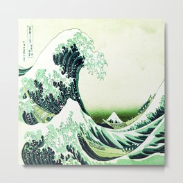 The Great Wave Green Metal Print