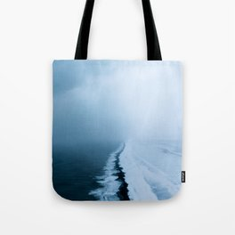 Infinite and minimal black sand beach in Iceland - Landscape Photography Tote Bag