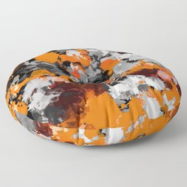 Orange and Grey Paint Splatter Floor Pillow