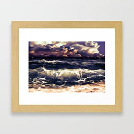 stormy sea waves reacls Framed Art Print