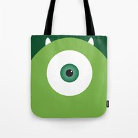 pixar Tote Bags featuring PIXAR CHARACTER POSTER - Mike Wazowski - Monsters, Inc. by Marco Calignano