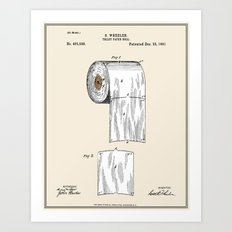 Toilet Paper Roll Patent - Colour Art Print
