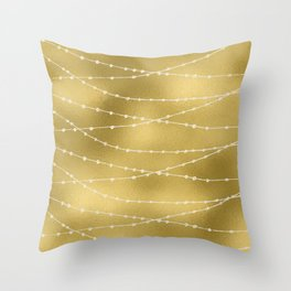 Merry christmas- white winter lights on gold pattern Throw Pillow