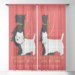 Retro London and Glasgow by train, dogs terriers Sheer Curtain