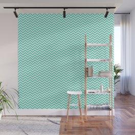 Aqua Blue Mini Chevron Stripes Wall Mural