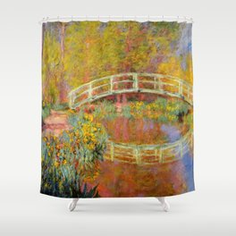 "Claude Monet ""The Japanese Bridge at Giverny"" Shower Curtain"
