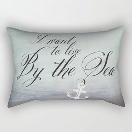 I want to live by the sea - black Rectangular Pillow