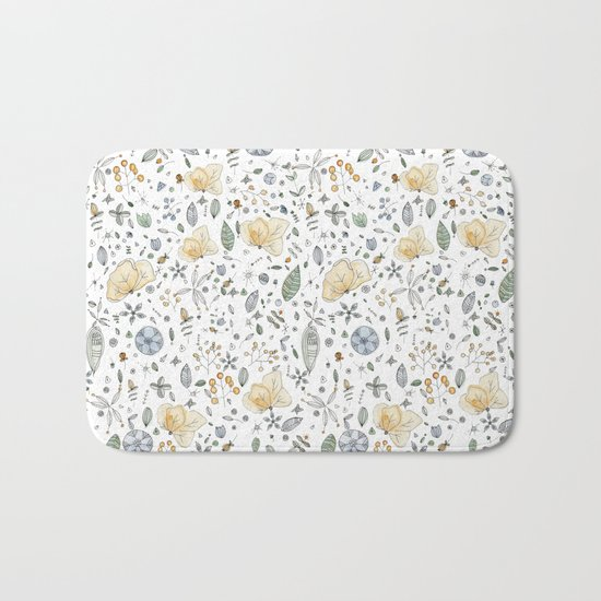 Flower Garden Watercolor Bath Mat