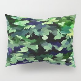 Foliage Abstract Camouflage In Forest Green and Black Pillow Sham
