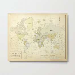 Vintage World Map Print Metal Print