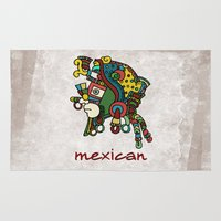 mexican Area & Throw Rugs featuring mexican warrior by laika in cosmos