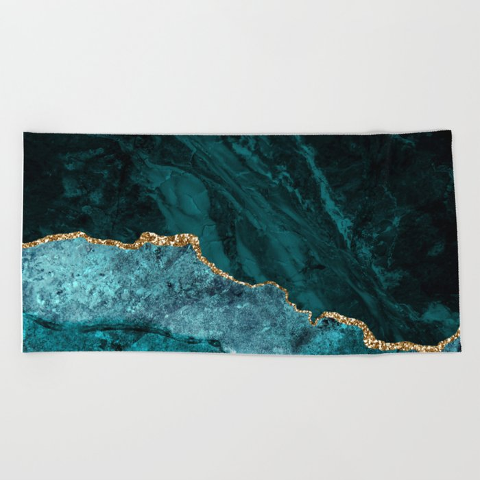 Teal Blue Emerald Marble Landscapes Beach Towel