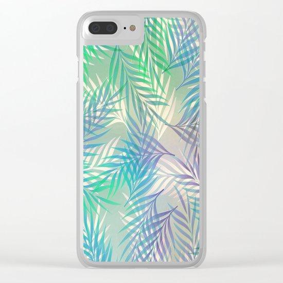 Palm Leaf Pattern Clear iPhone Case