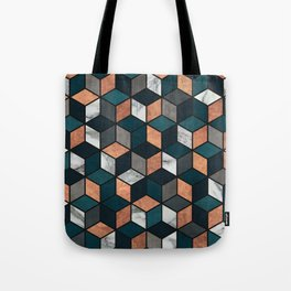 Copper, Marble and Concrete Cubes with Blue Tote Bag