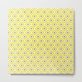 Yellow and Gray Diamonds Ikat Pattern Metal Print