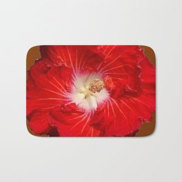 COFFEE BROWN RED & WHITE HIBISCUS FLOWER Bath Mat
